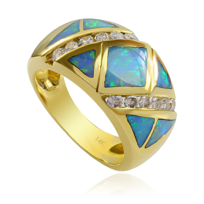 Extremely Beautiful Genuine Australian Opal and Diamond Ring