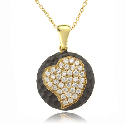 Heart Gold Plated .925 Oxidized Silver Pendant