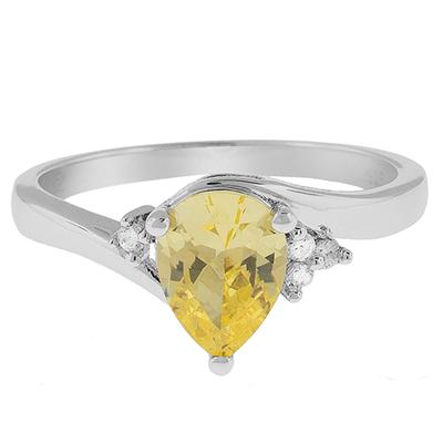 Citrine Pear Cut Silver Ring