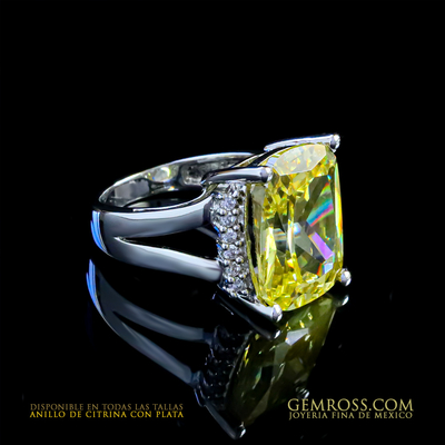 Huge Radiant Cut Citrine Silver Ring