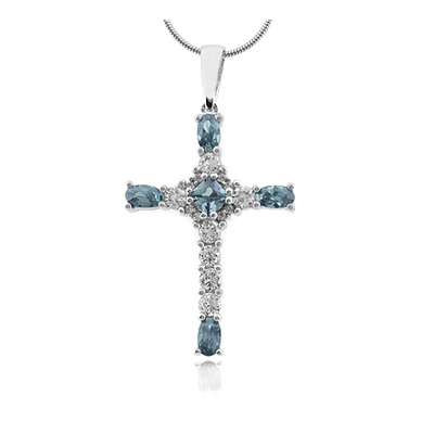 Sterling Silver Cross Aquamarine Pendant