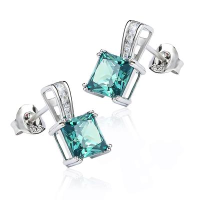 Princess Cut Alexandrite Sterling Silver Earrings