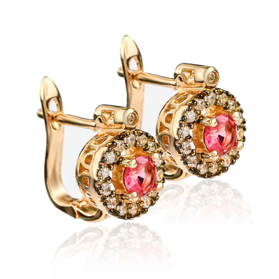 Round Cut Red Ruby Earrings With 14K Rose Gold Plating