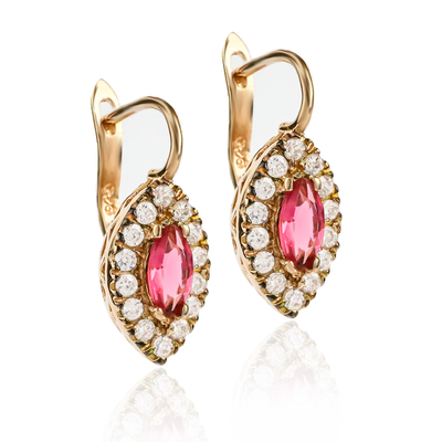 Marquise Cut Ruby Earrings Sterling Silver With 14K Rose Gold Plating