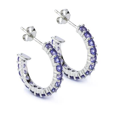 3 mm Wide Tanzanite Hoops Earrings