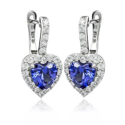 Big Heart Shape Tanzanite Earrings With Leverbacks
