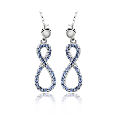 Silver Infinity Earrings with Tanzanite