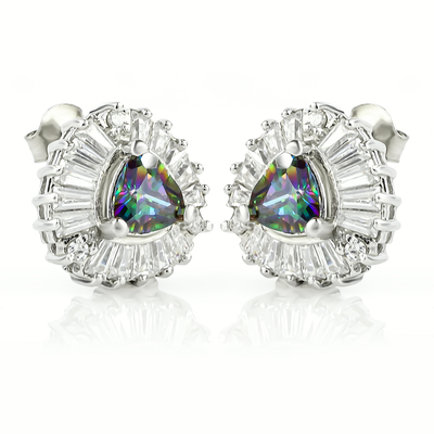 Mystic Topaz Earrings with Silver 925 Trillion Cut Stone