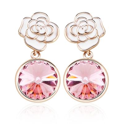 Pretty Pink Earrings With Flower
