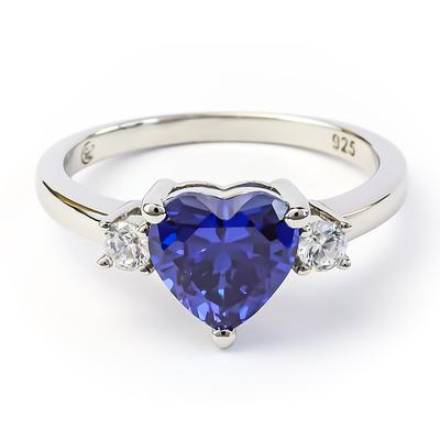 Tanzanite Heart Shape Cut Silver Ring
