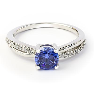 Tanzanite Round Cut Silver Ring