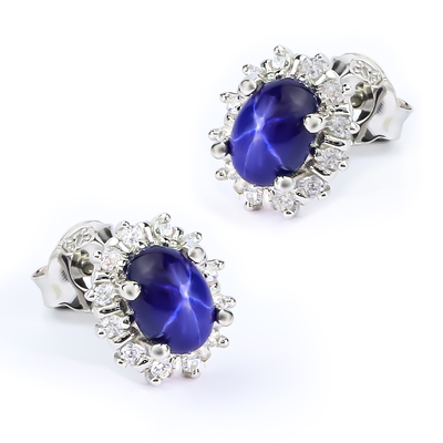 Earrings with Star Sapphire Sterling Silver