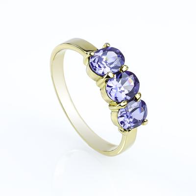 Genuine Oval Cut 3 Stone Tanzanite 10K Gold Ring