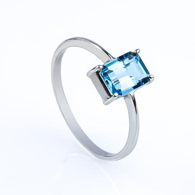 Genuine Emerald Cut Blue Topaz Engagement 14k White Gold Ring