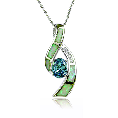 Australian Opal Pendant with Color Change Alexandrite