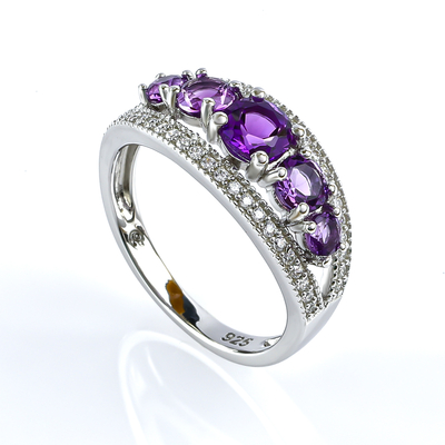 Sterling Silver Stackable Amethyst Ring