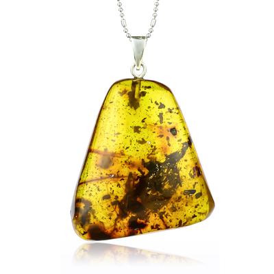 Huge Genuine Amber Silver Pendant