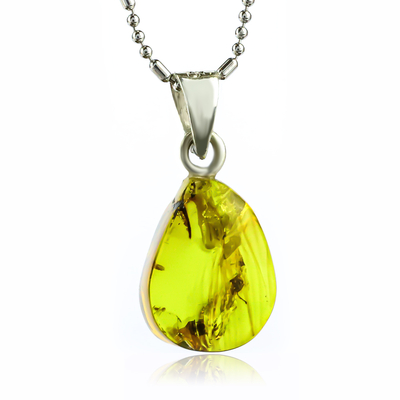 Rare 100% Genuine Amber With Insect Silver Pendant 20mm x 10mm