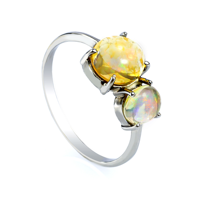 Genuine Mexican Fire Jelly Opal Gold Ring 14K