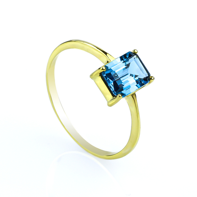 Genuine Emerald Cut Blue Topaz Engagement 14k Yellow Gold Ring