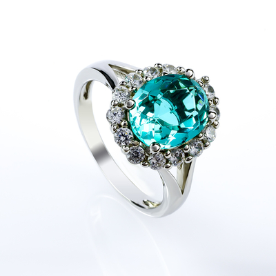 Paraiba Silver Ring Oval Cut Stone