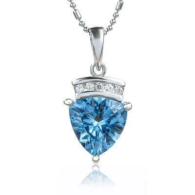 Aquamarine Trillion Cut Stone Silver Pendant
