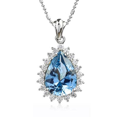 Pear-Cut Silver Pendant with Aquamarine