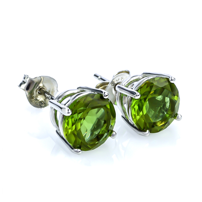 Alexandrite Round Cut Stud Earrings GREEN/BROWNISH