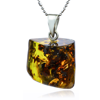 Genuine Honey Amber Silver Pendant From Mexico 25 mm x 20 mm