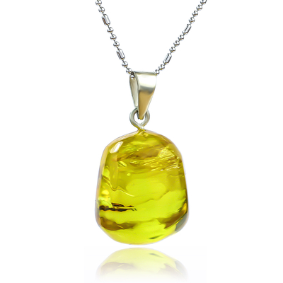Genuine Amber Silver Pendant From Mexico 25 mm x 17 mm