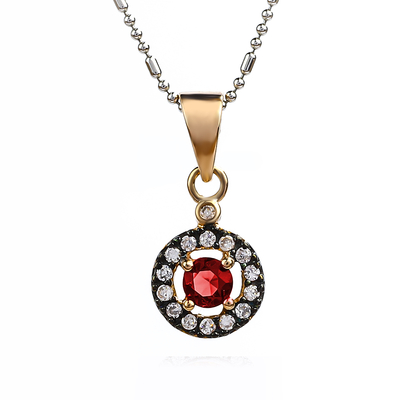14K Rose Gold Plated Ruby Sterling Silver Pendant
