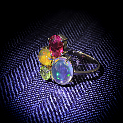 Genuine Mexican Fire Jelly Opal, Tsavorite and Rubelite Gold Ring