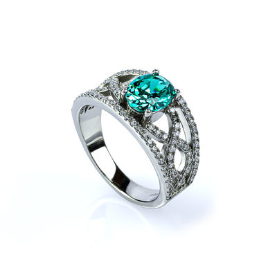Oval Cut Paraiba and Simulated Diamonds