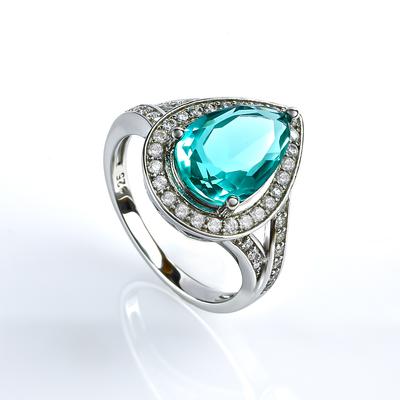 Silver Pear Cut Paraiba Ring