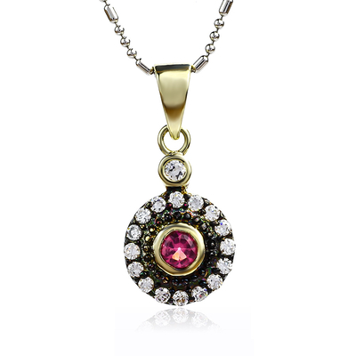 14K Rose Gold Plated Sterling Silver Ruby Pendant