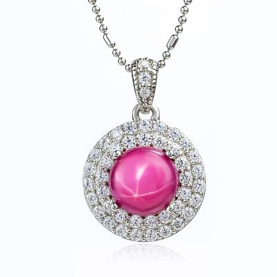 Star Ruby Pendant Simulated Diamonds