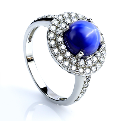 Round Cabuchon Star Sapphire Ring Sterling Silver