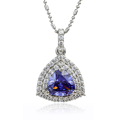 Trillion Cut Tanzanite Sterling Silver Pendant