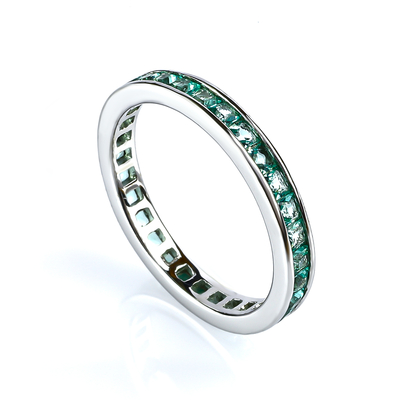 Sterling Silver Channel Setting Stackable Paraiba Ring