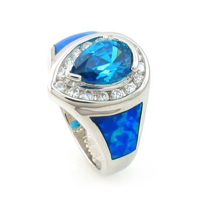 Australian Opal Ring with Pear Cut Blue Topaz