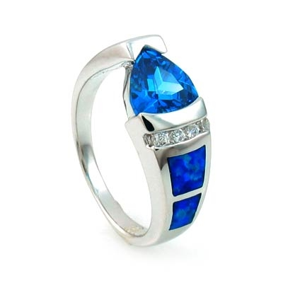Elegant Australian Opal Ring with Blue Topaz