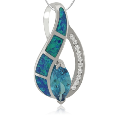 Marquise Cut Blue Topaz and Opal Silver Pendant