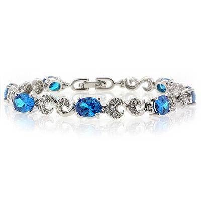 High Quality Blue Topaz Silver Bracelet