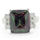 Emerald Cut Mystic Fire Topaz Ring