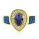 Opal with Tanzanite Gold Plated Silver Ring