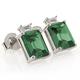 Emerald Cut Alexandrite Silver Stud Earrings