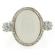 Genuine White Jade and Topaz Silver Ring