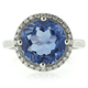 Round Cut Changing Color Stone Alexandrite Silver Ring