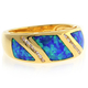 Blue Opal Gold Plated Silver Unisex Ring