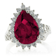 Sterling Silver Ruby Pear Cut Ring